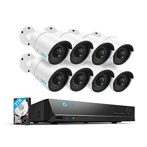 Reolink 4MP 16CH PoE Video Surveillance System, 8 x Wired Outdoor 1440P PoE IP Cameras, 5MP/4MP Supported 16 Channel NVR Security System w/ 3TB HDD for 7/24 Recording RLK16-410B8