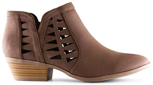 MARCOREPUBLIC Oslo Womens Perforated Cut Out Side Medium Low Stacked Block Heel Ankle Booties Boots - (Light Brown DISPU) - 6
