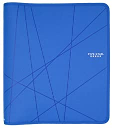 Five Star Zipper Binder, 1.5-Inch Capacity, 13.62 x 12.12 x 2.38 Inches, Cobalt Blue with Lines (73029)