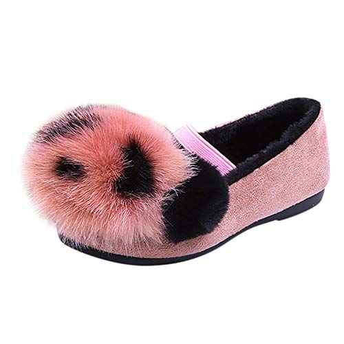 Fiaya Children Kid Girls Winter Warm Plush Panda Cartoon Warm Cozy Fur Lined Princess Loafer Shoes Moccasin Slippers (Hot Pink, 5.5-6 Years)