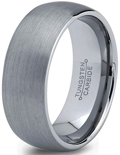 Grey Dome Ring - Charming Jewelers Tungsten Wedding Band Ring 7mm Men Women Comfort Fit Grey Dome Brushed Size 8.5