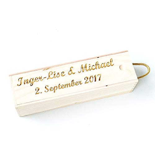 (Awerise Personalized Wooden Wine Box Wine Carrier for Wedding Ceremony, Birthday Gift)