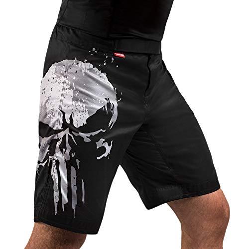 Hayabusa MMA Shorts | Mens | Marvel The Punisher Board Style MMA Training Shorts | Black, Large