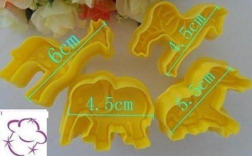 SET 4 STAMPI ESPULSIONE ANIMALI SAVANA PASTA DI ZUCCHERO CAKE DESIGN TORTE
