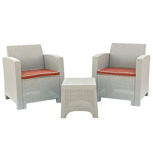- AK Energy 3pc Sofa Set PP Patio Garden Weather Outdoor 2PC Arm Chairs 1 Square Table Gray-White Color