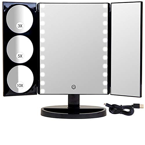 Mirrorvana X-Large LED Lighted Trifold Makeup Mirror - Battery and USB Powered - 1X, 3X, 5X & 10X Magnification (Led Battery Powered Lighted Base)