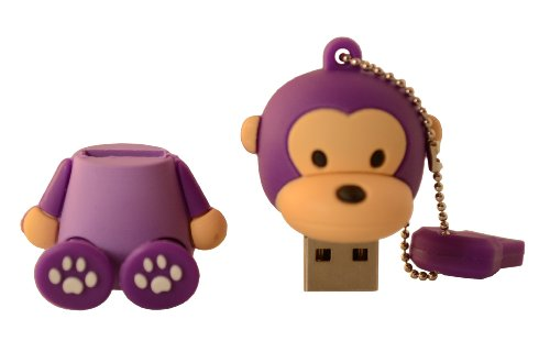 Cute Purple Monkey Sitting Milo Keychain Animal Collection 4GB USB Flash Drive - in Gift box - with GadgetMe Brands TM Stylus Pen and comes in GadgetMe retail packaging