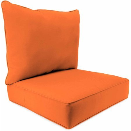 Foam Mandarin (Stylish Outdoor Patio 2 Piece Deep Seat Boxed Chair Cushion With Matching Piping & Ties, Spun Polyester Fabric, Non-Allergenic Polyester Foam Fill, Resist Fading Mold & Mildew, Fresco Mandarin Finish)