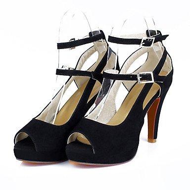 LvYuan Mujer-Tacón Stiletto-Otro-Sandalias-Vestido Informal Fiesta y Noche-Vellón-Negro Blanco Black