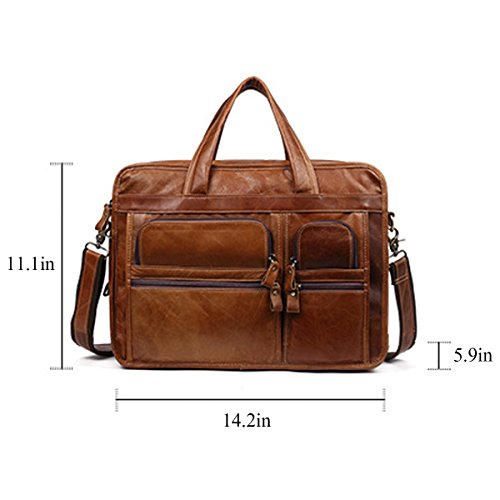 green Men 1 Genuine QISHI brown QISHI YUHUA Leather Fashion 2 Dark Business trends Cowhide handbag YUHUA18 11fO56Fn