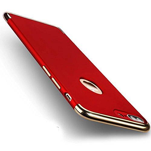 para iPhone 7 Plus / 8 Plus Funda, Vandot Hybrid Diseño 3 en 1 Cáscara Dura de la PC Recubrimiento Metálico Marco Chapado Matte de Lujo Hard PC Caja de Telefono Protección Cubierta Case Cover para iPh Scission-rouge