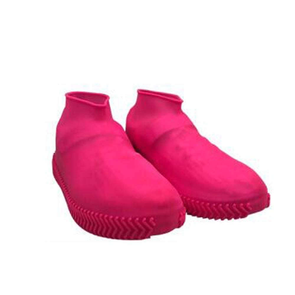 WUZHONGDIAN Shoe Cover, Made of Silicone, Environmentally Friendly, Odorless, Rainproof Non-Slip Shoe Cover, Reusable Shoe Cover (Color : Pink, Size : L) by WUZHONGDIAN