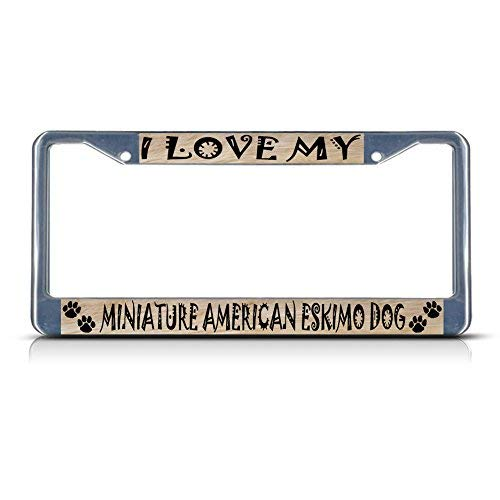 Miniature American Eskimo Dog Dog Pet Border Funny License Plate Frame Metal Chrome Cute License Plate Cover for Women,Novelty Gifts Car Tag -