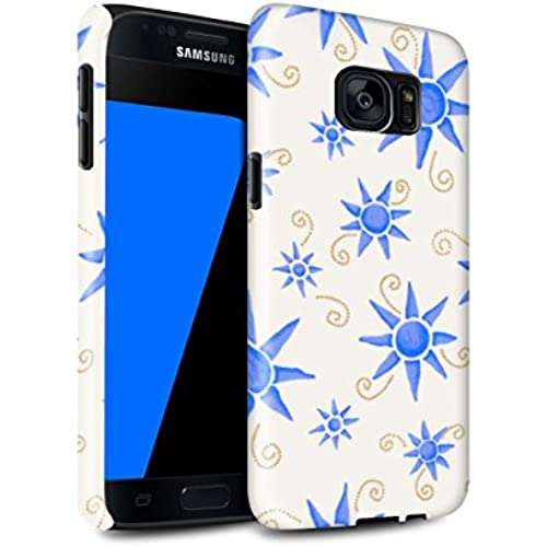 STUFF4 Gloss Tough Shock Proof Phone Case for Samsung Galaxy S7/G930 / Blue/White Design / Sun/Sunshine Pattern Sales