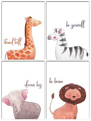 L & O Goods Safari Animals Inspirational Nursery Décor | Baby Boy & Girl Wall Art Watercolor Prints | Set of 4 Posters for Bedroom Decoration | Cute Kids Posters - Kids Safari Bedroom