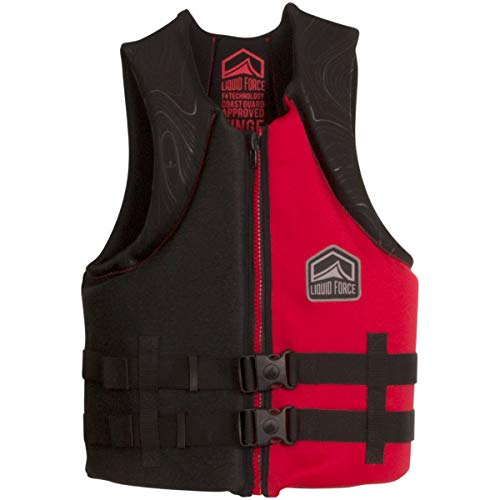 Liquid Force Mens Hinge Life Jacket (Black/Red, Size : XL)