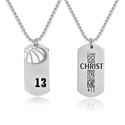 Men's Basketball Player Number 13 Stainless Steel Dog Tag Pendant I Can Do All Things Necklace (Silver)