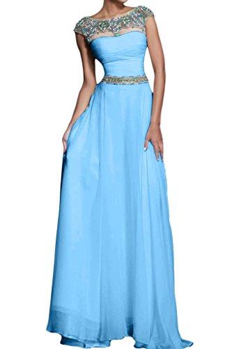 Missdressy Damen Elegant Tuell Chiffon Rundkragen Kurz Aermel A-Linie  Schleppe Abendkleid: Amazon.de: Bekleidung