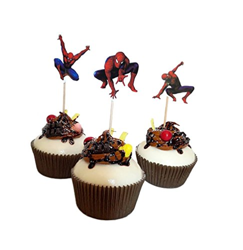 24 PCS Spiderman Birthday Theme Party Decorative Cupcake Topper For Sweet Heart Birthday Party Decoration -
