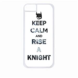 Keep Calm and Rise a Knight - Hard White Plastic Snap - On Case-Apple Iphone 5C Only - Great Quality!