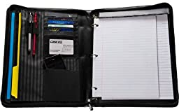 Case-it Executive Zippered Padfolio with Removable 3-Ring Binder and Letter Size Writing Pad, Black, PAD-50