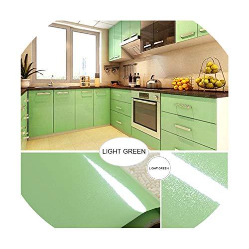 5mx0.6m Multicolor Glossy Vinyl Self Adhesive Wall Paper Bedroom Wardrobe Desktop Furniture Stickers Waterproof Decorative Film,Light Green,5m x 60cm -