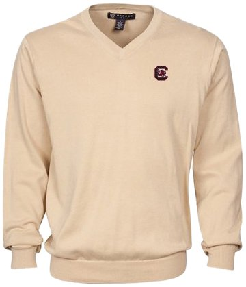 Oxford Golf NCAA South Carolina Fighting Gamecocks Men's Devon V-Neck Sweater (Oyster, Small) by Oxford