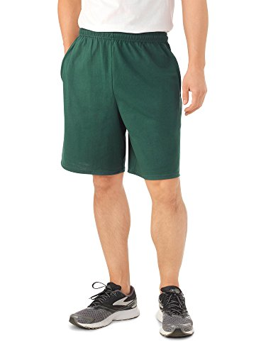 100% Cotton Jersey Short - Fruit of the Loom Men's Jersey Short (Medium, Dark Green)