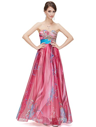 [Ever Pretty Floral Printed Sequins Strapless Empire Line Long Evening Dress 09820, HE09820HP16, Hot Pink, US14] (Floral Long Skirt Evening Gown)