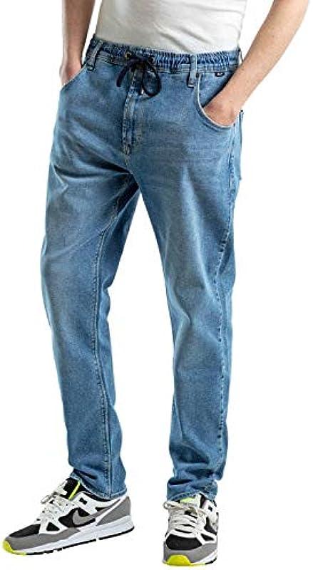 Reell męskie spodnie do biegania jeansy jasnoniebieskie: Odzież