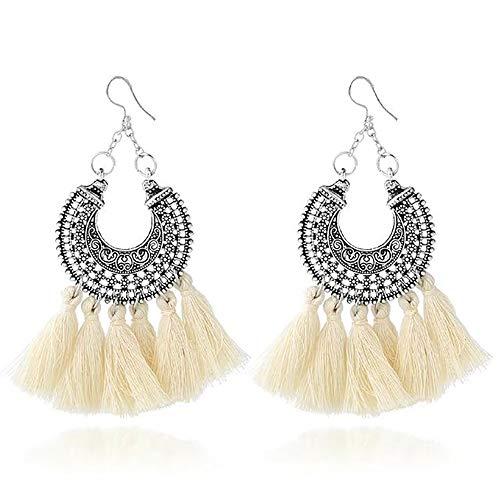 (Bestga Boho Tassel Earrings, Long Dangle Bohemian Earrings Fish Hook Drop Earring Handmade Statement Dangle Earrings for Women Girl Daily Wear - Idea for Gift Party Wedding Banquet Dating - Beige)
