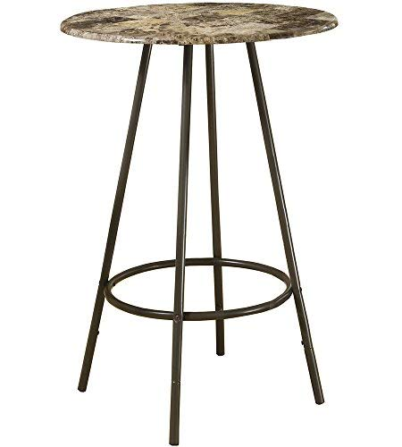 Monarch Specialties Metal Diameter Bar Table, 30-Inch, Cappuccino/Marble/Coffee ()