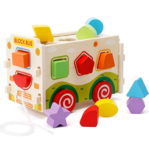 Lewo Large Wooden Shape Sorter Bus Classic Push Pull Truck Toy for Toddlers Baby Color Recognition Geometry Learning - Bus Sorting Shape