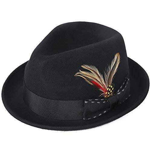 a8599834b92afe Janetshats Fedora Hat for Men Wool Felt Hat Crushable Handmade Bowknot  Feather