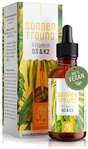 Vitamin D3 K2 Tropfen hochdosiert - 100% Vegan - Vitamin D aus pflanzlichen Flechten (ohne tierisches Lanolin) 1.000 IE + Vitamin K2 All Trans - Sonnenfreund geprüft & hergestellt in Deutschland