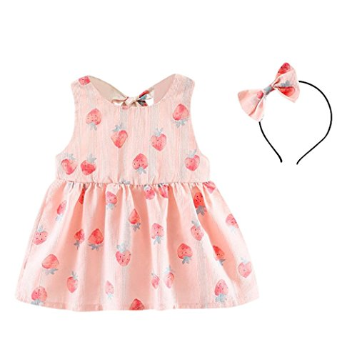 Price comparison product image G-real Infant Baby Girls Cute Dress Outfits Strawberry Print Back Bow Tie Mini Princess Dress+Headband (Pink,  12M)