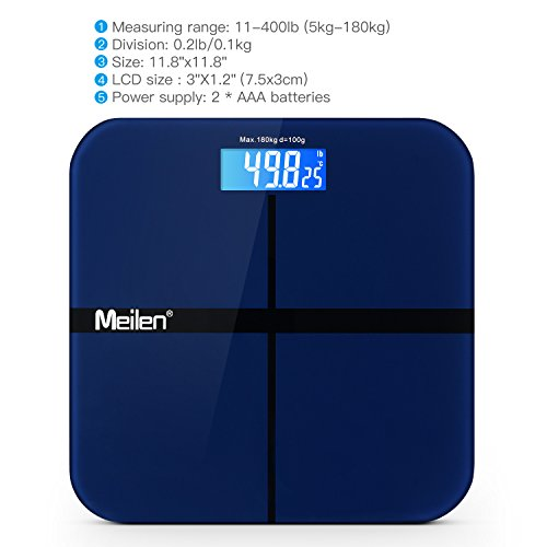 Digital Bathroom Scale w/ Step-On Techonology Precision Measures Weight and Room Temperature ,Large Backlit LCD and Round Edge Tempered Glass Platform , 400lb/180kg (Blue)