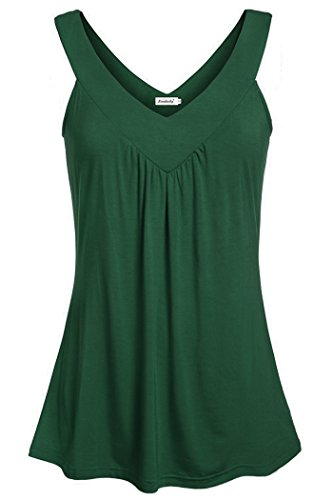 Active Sleeveless Top - Ninedaily Plus Size Tank Tops Women Summer, Active Wear V Neck Tunic Shirt Loose Fitting Blouse Sleeveless Shirts Women, Green, XX-Large