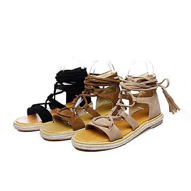 KYDJ @ Mujer-Tacón Plano-Zapatos del club Gladiador-Sandalias-Exterior Vestido Informal-Semicuero Black