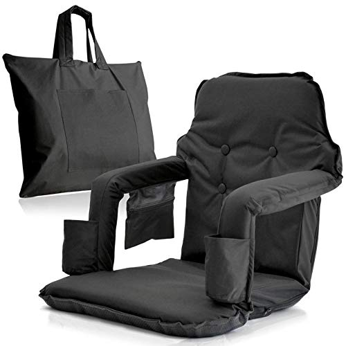 Extra Wide Foldable Stadium Chair for Bleachers - New & Improved 2019 Patent Pending Deluxe Model + Free Carry Bag- Water Resistant + Thick Padding +2 Drink Holders +Zipped Pocket (Black, X-Large) ()