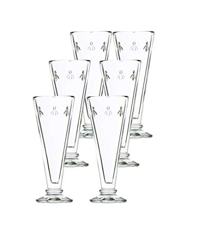 - La Rochère Set of 6, 5.1 oz. Bee Décor Clear Champagne Flutes