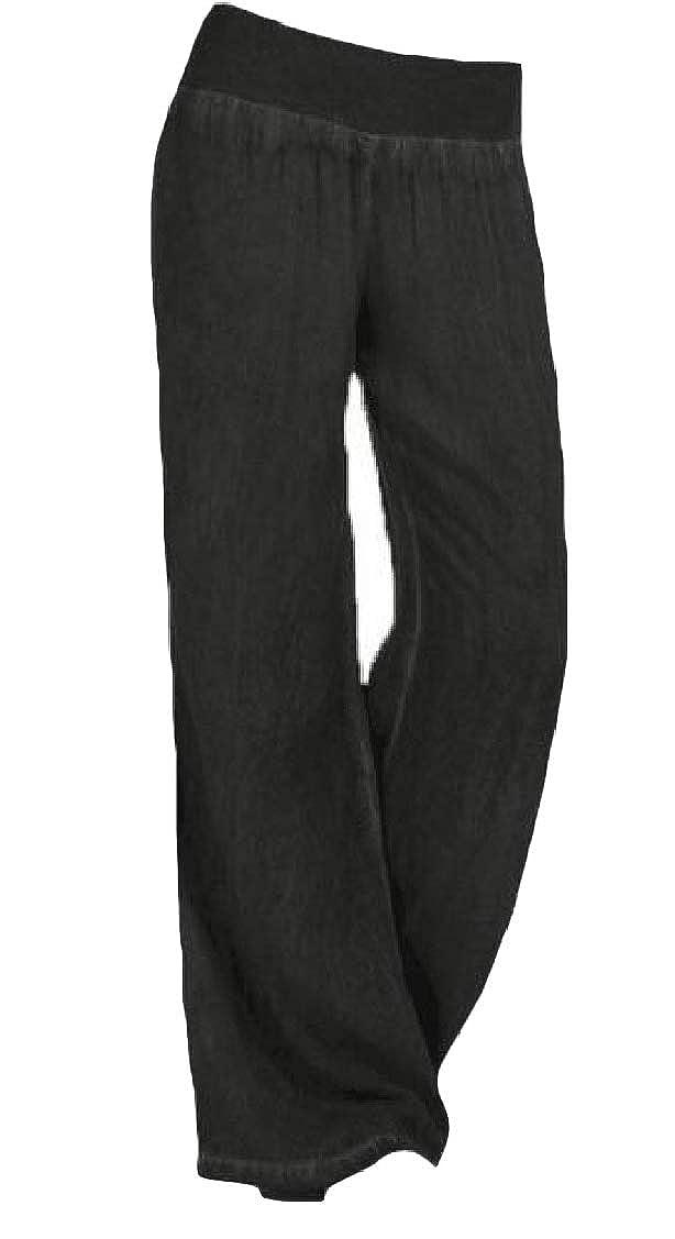 pipigo Womens Loose Wide Leg Trousers Jeans Denim Palazzo Casual Pants