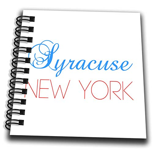 3dRose Alexis Design - American Cities Nevada-New-York - Syracuse, New York Blue, red Text. Patriotic USA Home Town Gift - Mini Notepad 4 x 4 inch (db_300588_3)