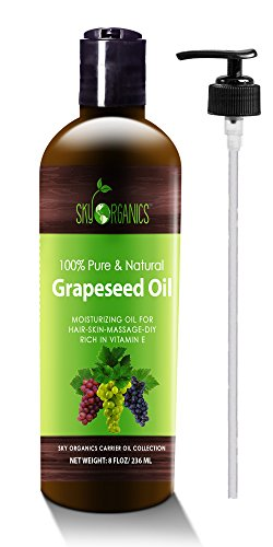 Grapeseed Oil by Sky Organics - 100% Pure, Natural & Cold-Pressed Grapeseed Oil - Ideal for Massage , Cooking and Aromatherapy- Rich in Vitamin A, E and K- Helps Reduce Wrinkles - 8oz