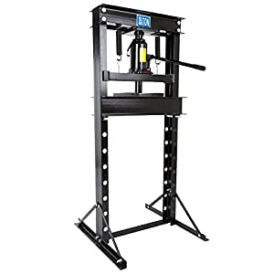 Black Widow – 20-Ton Hydraulic Shop Press – BD-PRESS-20H – Eight Different Height Adjustments – Two Heel Blocks – Powder-Coated Steel – One-Year Warranty