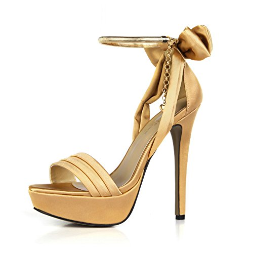Best 3CM High Women's 14CM 4U Platform Silk Summer Pumps Sole Heels Faux Rubber Chain Pendant Sandals Peep Basic toe Bow Shoes Yellow Wedding ArngAxq
