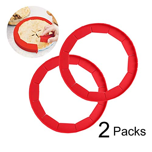 Adjustable Pie Crust Shield Silicone Pie Protectors Adjustable Bake Crust Protector Pie Crust Protector Cover Kitchen Tool for Baking Pie Pizza, Fit 8-11.4 Inch Pies (2 PCS)