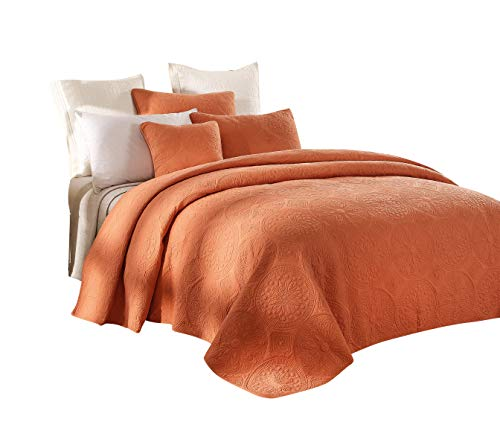Tuscany Bedding - Tache Cotton Pastel Orange Rustic Stone Washed Reversible Matelassé Lightweight Tuscany Sunrise Floral Quilted Bedspread 3 Piece Set, Cal King