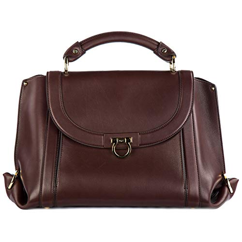 Salvatore Ferragamo Women's Suzanna 21G395 Deep Brown/Burgundy Handbag