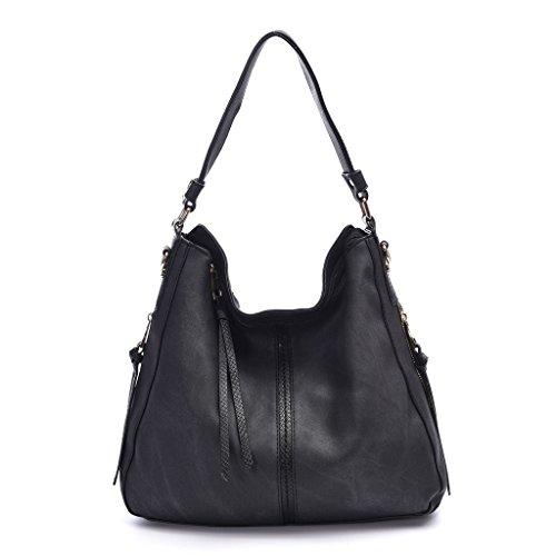 DDDH Hobo Handbags Leather Purses Large Tote Shoulder Bags Vintage Bucket Bag For Women(Black2)